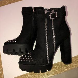 Black Studded Spiked Ankle Heel Boots Bootie w/zip